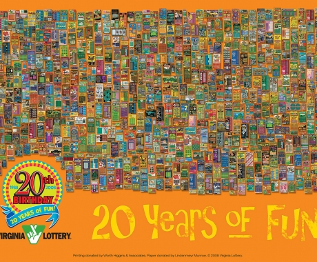 VA Lottery 20th Anniversary scratcher poster